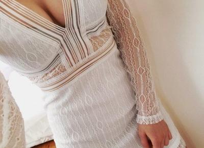 Biała koronkowa sukienka z Aliexpress- Aliside.com