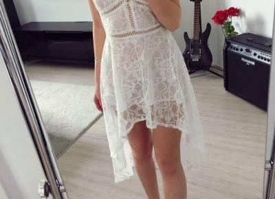 Koronkowa asymetryczna sukienka z Aliexpress- Aliside.com