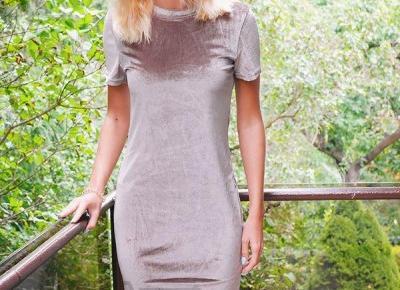 Welurowa sukienka z Aliexpress- Aliside.com