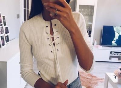 Biały sweterek z wiązaniem z Aliexpress- Aliside.com