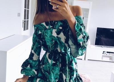 Sukienka w tropikalny wzór z Aliexpress- Aliside.com