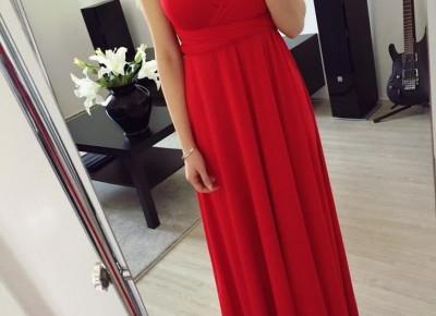 Długa czerwona sukienka na wesele z Aliexpress- Aliside.com