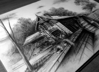 Amiluna ART - Blog o rysowaniu: Watermill - pencil drawing