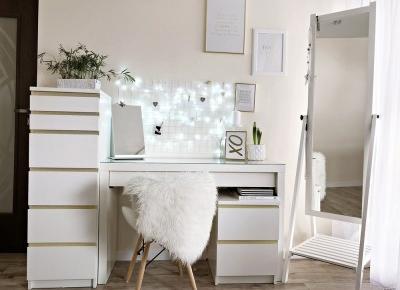 Biała toaletka, zdjęcia - o tym jak zorganizowałam sobie biuro. Toaletka Ikea Malm. | Basia Smoter Blog - blog kosmetyczny, blog lifestylowy. Opinie, trądzik, włosy, paznokcie, kosmetyki