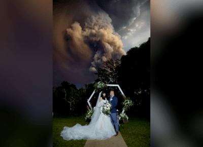 Gdy brali ślub wybuchł wulkan! Musicie to zobaczyć !