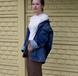 Chiconic by Kasia Wasilewska: Jeans jacket and silk trousers