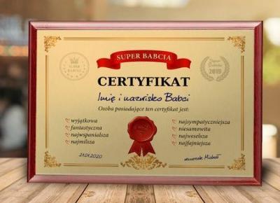 Certyfikat - Super Babcia