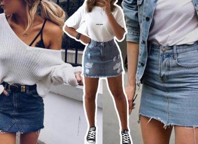 Wiosenne stylizacje z jeansową spódnicą | DlaNastolatek.pl