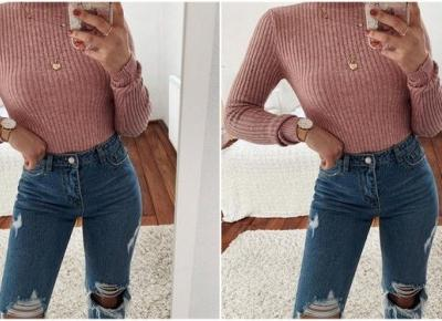 Jesienna stylizacja z różowym sweterkiem | DlaNastolatek.pl