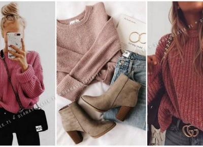 Zimowe stylówki z różowym swetrem | DlaNastolatek.pl