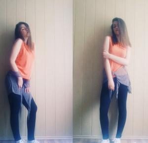 Goood Fashion: Orange Top, Black Leggings and Punched Cape