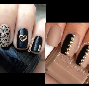 Goood Fashion: Nude nails with black - 20 sweet design for spring
