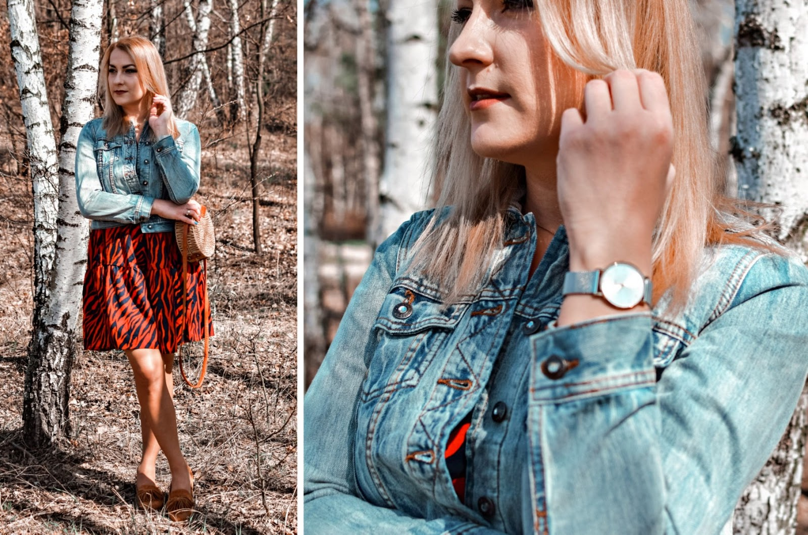 Sukienka z nadrukiem i jeansowa kurtka – wiosenny ootd
