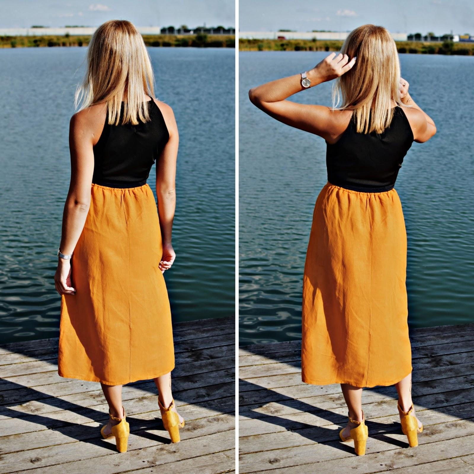 Spódnica lniana z wiązanym paskiem – wrześniowy look