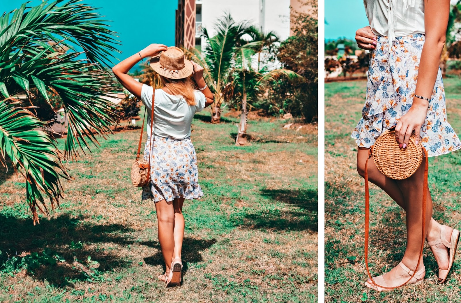 Krótka spódnica w kwiaty w wiosennej stylizacji