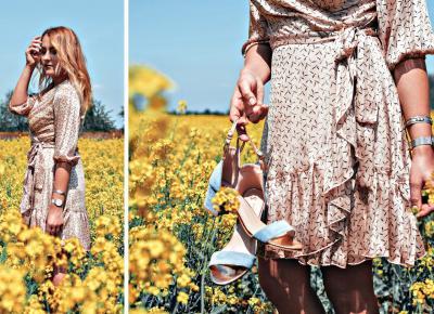 Romantyczna stylizacja - sukienka z kopertowym dekoltem ALISON / Grandio.pl