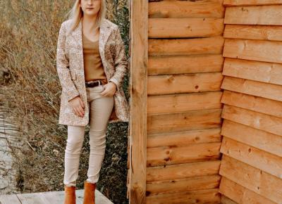 Totally autumn look – płaszcz żakietowy i oversizowy sweter Bonprix