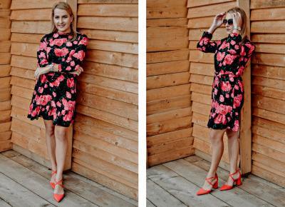 Kwiecista sukienka Cofashion i czerwone czółenka – moja elegancka stylizacja