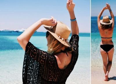 Plażowa stylizacja – czarna narzuta i bikini