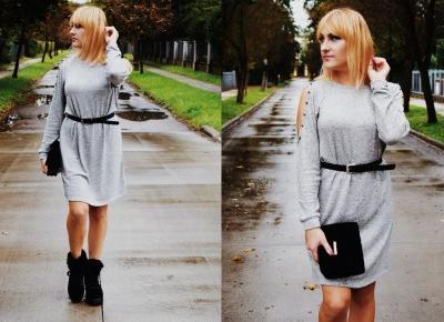 Szara dzianinowa sukienka / OOTD
