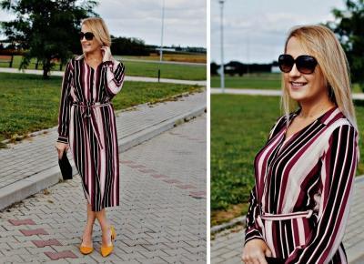 Kolory jesieni, czyli koszulowa sukienka i musztardowe czółenka