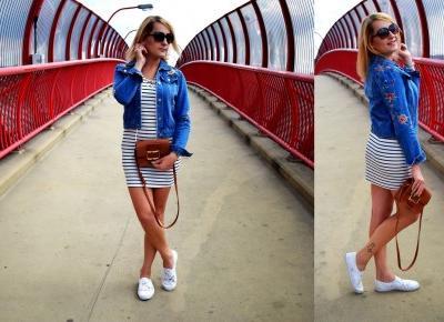 Sukienka w paski i kurtka jeansowa