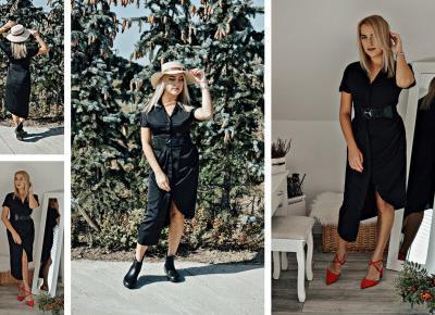Czarna, zapinana sukienka w dwóch propozycjach