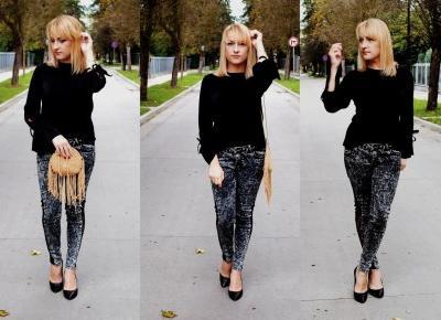 Jeansowe spodnie z koronką
