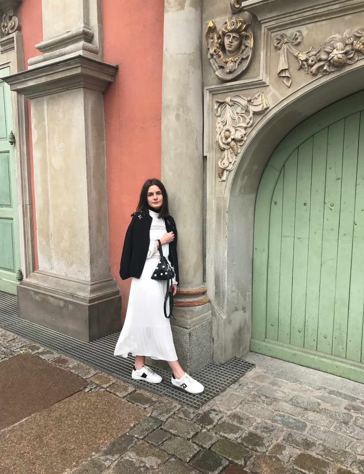 Yoshe White Lace Accent Dress + Gucci Pearl Sneakers + Embellished details | Gabruszel