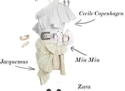 Jacquemus Pleated skirt + Miu Miu shoulder bag + Cecilie Copenhagen One-shoulder ruffled top | Gabruszel