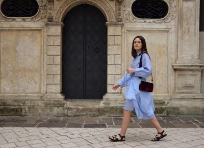MMC Inspired Outfit - stripped shirt dress + velvet bag + stone embellished sandals | Gabruszel