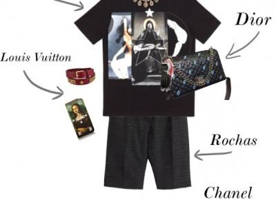 Givenchy Madonna T-shirt + Dior Leather Handbag + Chanel Chain Sliders  | Gabruszel