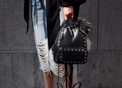 Ripped denim Skirt + Black Classics | Gabruszel
