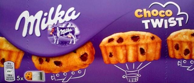 Ciastka biszkoptowe Choco Twist z kawałkami czekolady - Milka