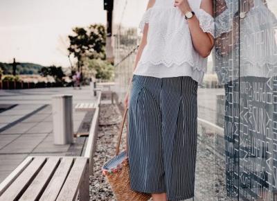 Szerokie spodnie w paski - stylizacja na lato - Hanna's Passions