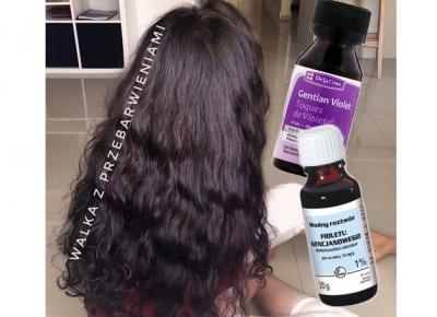 Próby przyciemnienia włosów: Violet de Paris (wodnym roztworem filotetu gencjany)