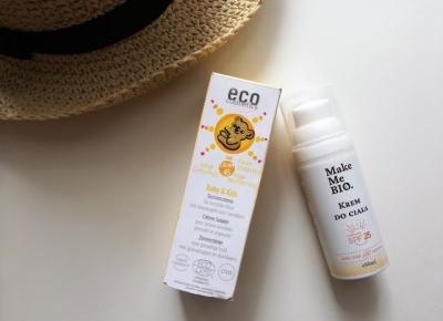 Recenzja kremu z filtrem dla dzieci Eco Cosmetics SPF 45 i kremu do ciała Make Me Bio SPF 25