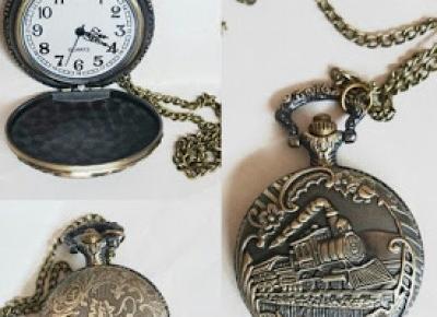 Zegarek kopertowy z pociągiem