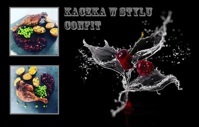 Przepisy kulinarne -Udo z kaczki w stylu confit z pieczonymi ziemniakami, gotowanym zielonym groszkiem i konfiturą borówkową   | Kreatyvna
