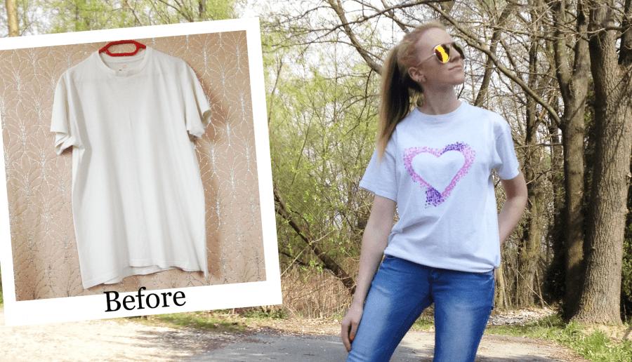 DIY koszulka z sercem 💜