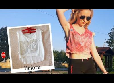 DIY Tie Dye różowy crop top + cekiny 🧵