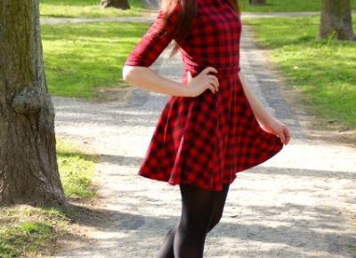 14.05.17 Sukienka w czerwono-czarną kratkę, czarne lity z ćwiekami, czarne rajstopy, sesja w parku koło Puław | Blog Fashion and Beauty - Personal by Leyraa