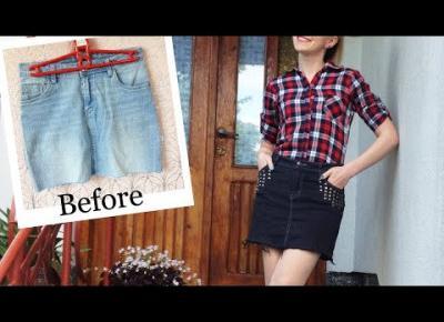 Poplamiona spódnica jak przerobić? DIY renowacja grafitowa jeansowa spódnica z ćwiekami 🧵