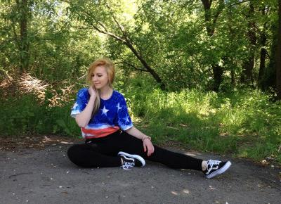DIY koszulka motyw flaga USA, spodnie skinny czarne, vansy | Blog Fashion and Beauty - Personal by Leyraa