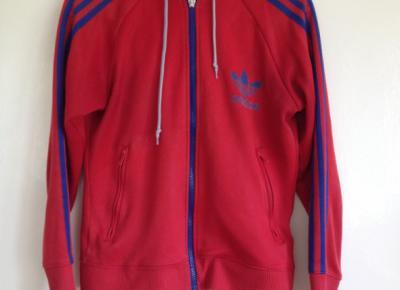 Bluza Adidas używana tania M L 38 40 czerwona niebieskie paski w Bluzy - Szafa.pl