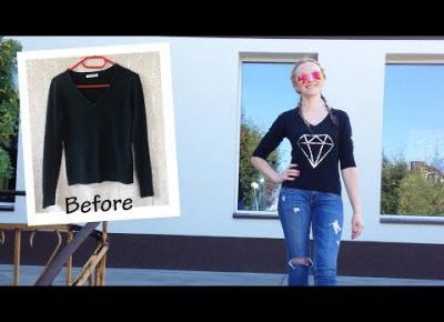 DIY czarny sweterek z diamentem z cekinów 💎