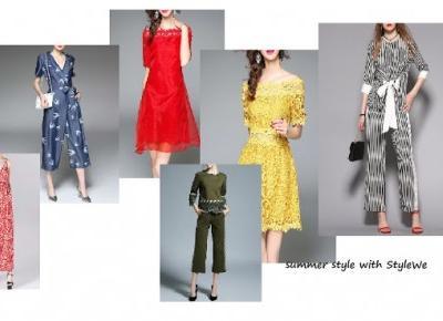 summer style with StyleWe - żywe kolory, kokarda w talii, biel i czerń