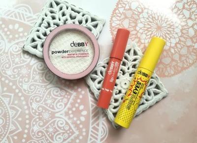 Makijaż z marką DEBBY | mascara, matujący puder, matowa pomadka w kredce - Malinowe C.