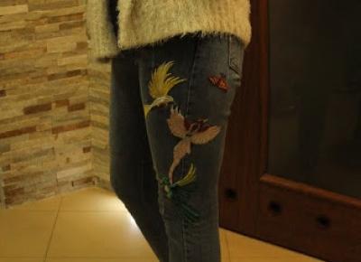 Jeansy z ciekawą aplikacją - Zaful