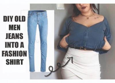 DIY OLD JEANS INTO A FASHION SHIRT | MYANGELASLIFE